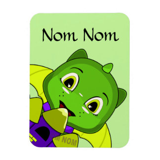 Chibi Dragon With A Yellow And Purple Castle Rectangular Magnet