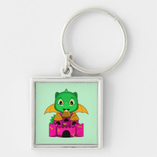 Chibi Dragon With An Orange And Pink Castle Keychains