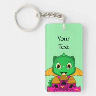 Chibi Dragon With An Orange And Pink Castle Double-Sided Rectangular Acrylic Key Ring