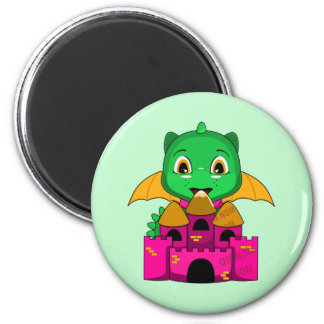 Chibi Dragon With An Orange And Pink Castle Fridge Magnet