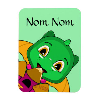 Chibi Dragon With An Orange And Pink Castle Rectangular Magnets