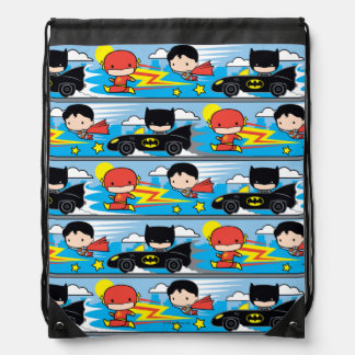 Chibi Flash, Superman, and Batman Racing Pattern Drawstring Bag
