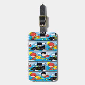 Chibi Flash, Superman, and Batman Racing Pattern Luggage Tag