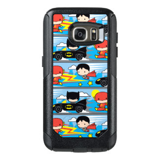 Chibi Flash, Superman, and Batman Racing Pattern OtterBox Samsung Galaxy S7 Case