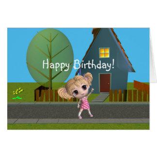 Chibi Girl Happy Birthday Greeting Card
