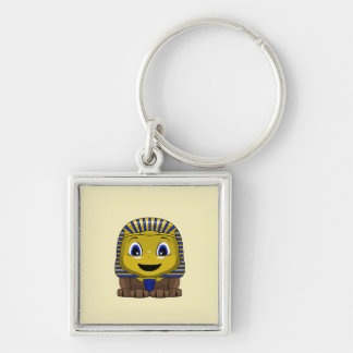 Chibi Golden Sphinx Silver-Colored Square Key Ring