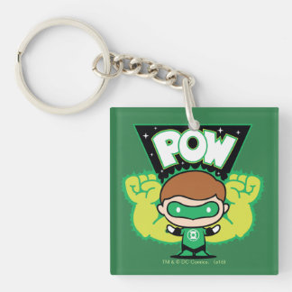 Chibi Green Lantern Forming Giant Fists Double-Sided Square Acrylic Key Ring