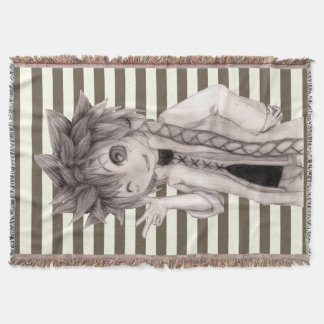 Chibi Guy and Modern Stripes Throw Blanket