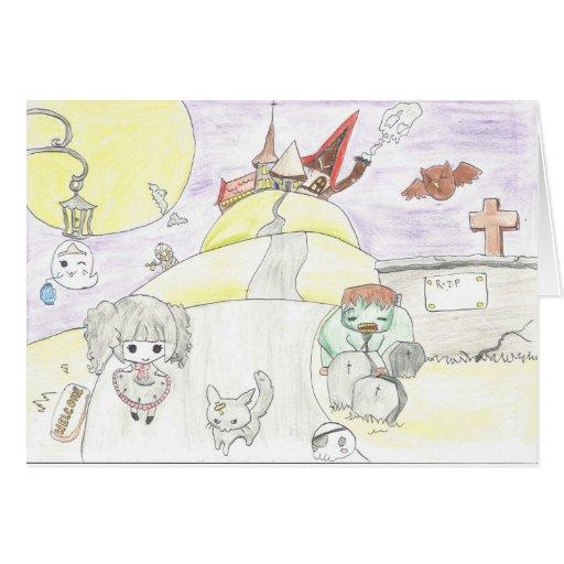 chibi halloween greeting cards