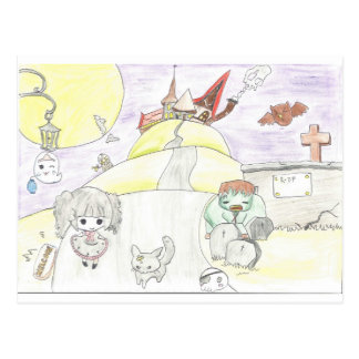 chibi halloween postcard