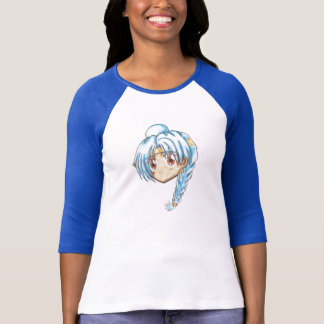Chibi Head-Miko T-Shirt White/Blue Raglan
