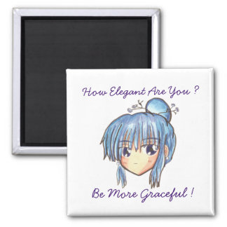 Chibi Head Ume' Be Graceful' Magent Square Magnet
