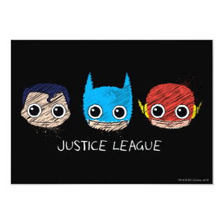 Chibi Justice League Heads Sketch 13 Cm X 18 Cm Invitation Card