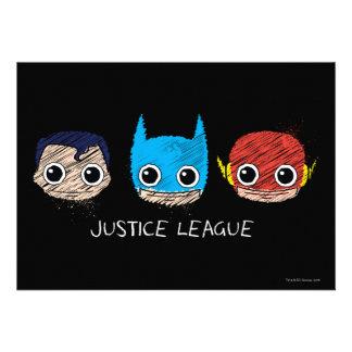 Chibi Justice League Heads Sketch Invitations
