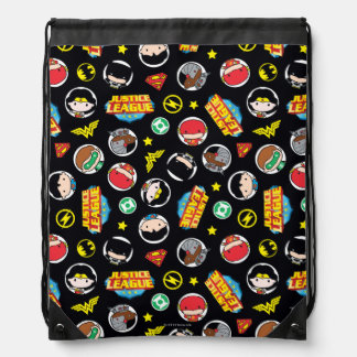 Chibi Justice League Heroes and Logos Pattern Drawstring Bag
