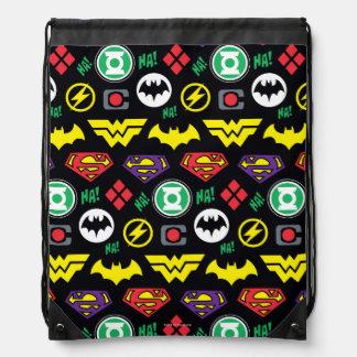 Chibi Justice League Logo Pattern Drawstring Bag