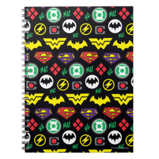 Chibi Justice League Logo Pattern Notebooks