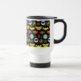 Chibi Justice League Logo Pattern Travel Mug
