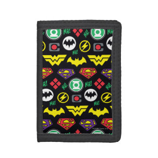 Chibi Justice League Logo Pattern Tri-fold Wallets