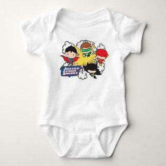 Chibi Justice League of America Explosion Baby Bodysuit