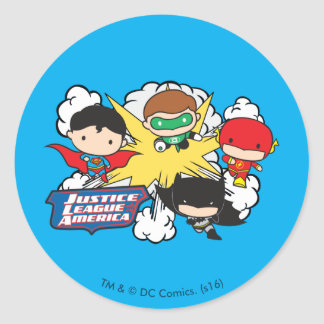 Chibi Justice League of America Explosion Classic Round Sticker