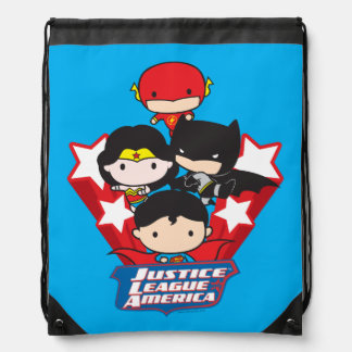 Chibi Justice League of America Stars Drawstring Bag