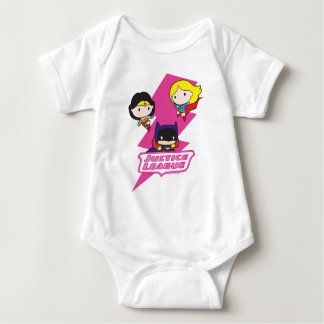 Chibi Justice League Pink Lightning Baby Bodysuit