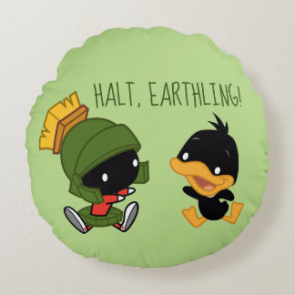 Chibi MARVIN THE MARTIAN™ & DAFFY DUCK™ Round Cushion