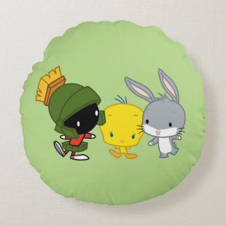 Chibi MARVIN THE MARTIAN™, TWEETY™, & BUGS BUNNY™ Round Cushion