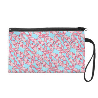 Chibi pink Axolotl pattern Chido Wristlet Clutches