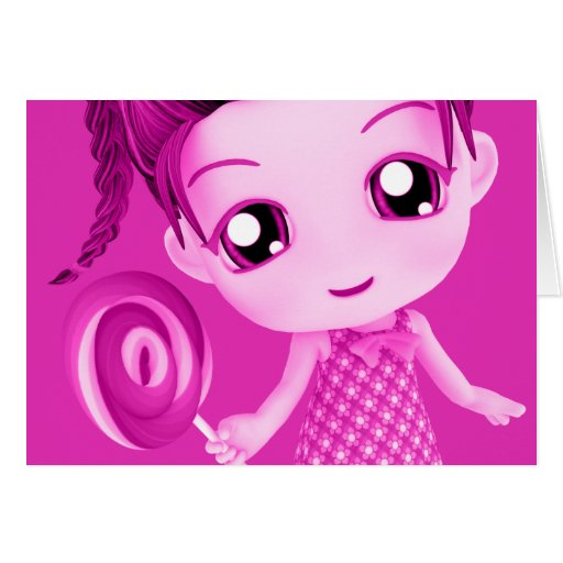 Chibi Pink Birthday Card