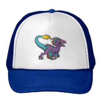 Chibi purple feathered velociraptor cap