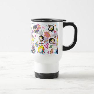 Chibi Super Heroine Pattern Travel Mug