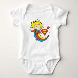 Chibi Supergirl Flying Rainbow Baby Bodysuit