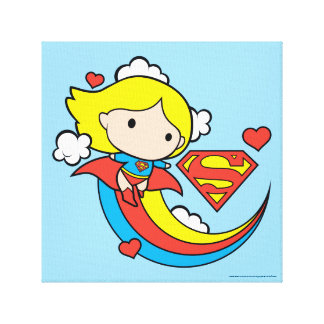 Chibi Supergirl Flying Rainbow Canvas Print