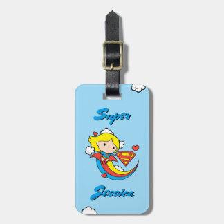 Chibi Supergirl Flying Rainbow Luggage Tag
