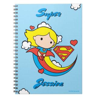 Chibi Supergirl Flying Rainbow Notebook