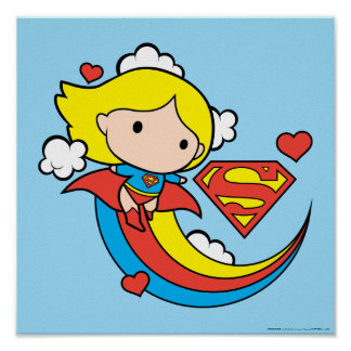 Chibi Supergirl Flying Rainbow Poster