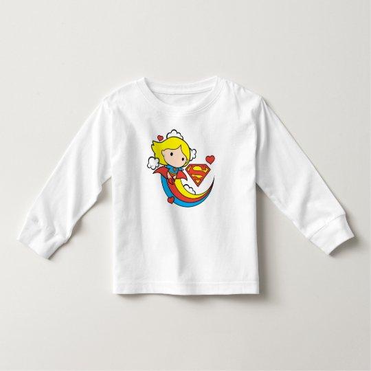 Chibi Supergirl Flying Rainbow Toddler T-Shirt