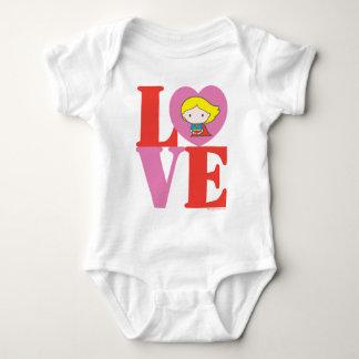Chibi Supergirl LOVE Baby Bodysuit