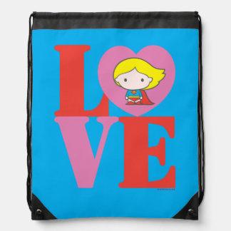 Chibi Supergirl LOVE Drawstring Bag