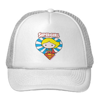 Chibi Supergirl Starburst Heart and Logo Cap