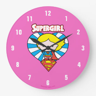 Chibi Supergirl Starburst Heart and Logo Large Clock