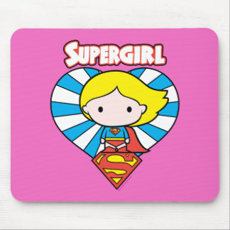 Chibi Supergirl Starburst Heart and Logo Mouse Mat