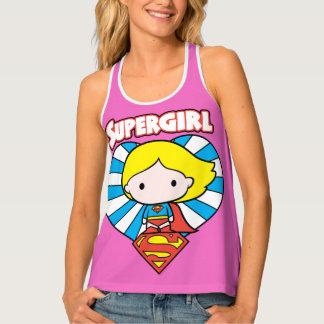 Chibi Supergirl Starburst Heart and Logo Tank Top