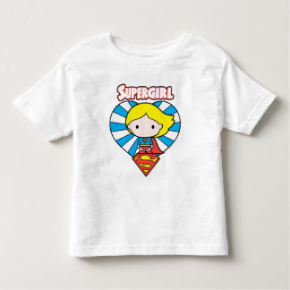 Chibi Supergirl Starburst Heart and Logo Toddler T-Shirt
