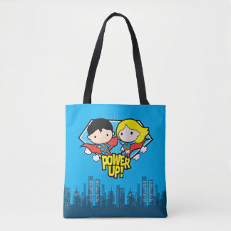 Chibi Superman & Chibi Supergirl Power Up! Tote Bag
