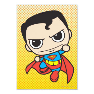 Chibi Superman Flying 13 Cm X 18 Cm Invitation Card