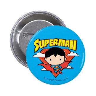 Chibi Superman Polka Dot Shield and Name 6 Cm Round Badge