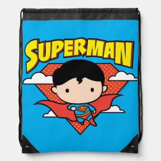 Chibi Superman Polka Dot Shield and Name Drawstring Bag